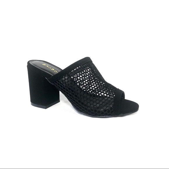 d92fa2afe3e Bamboo Shoes Black Mesh Mules Heels